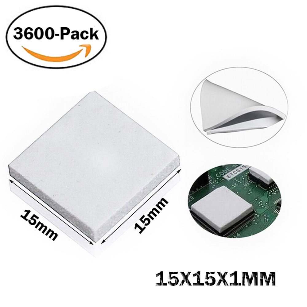 3600 Uds 15mm * 15mm * 1mm alfombrilla térmica para GPU CPU disipador de calor de refrigeración conductivo de silicona Pad