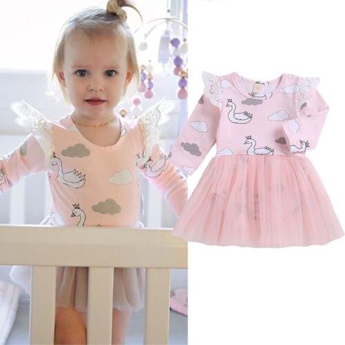 Bebê recém-nascido meninas infantil cisne macacão renda tutu vestido outfits retalhos rosa outono roupas