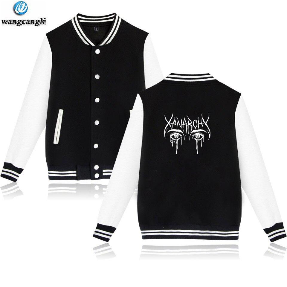Lil xan Xanarchy Otoño Invierno uniforme sudadera moda oversize college hoodies patchwork chaqueta de béisbol de manga larga abrigo