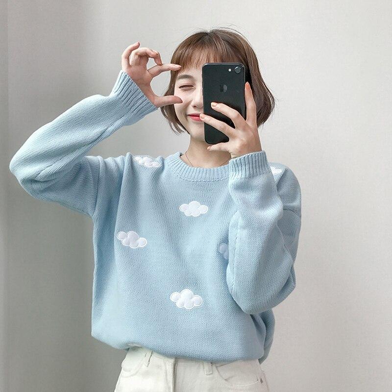 2019 חורף סרוג סוודר נשים מתוק עננים ארוך שרוול סוודרים מקרית סוודר Kawaii מגשרים נקבה חולצות