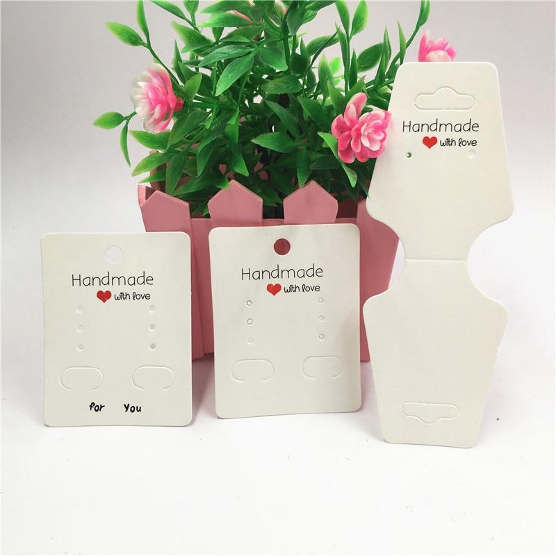 50 Uds. Blanco hecho a mano con amor serie de moda cartulina para pendientes joyería collar tarjetas de pulsera Tarjeta de papel Kraft Hot Shops tarjetas colgantes