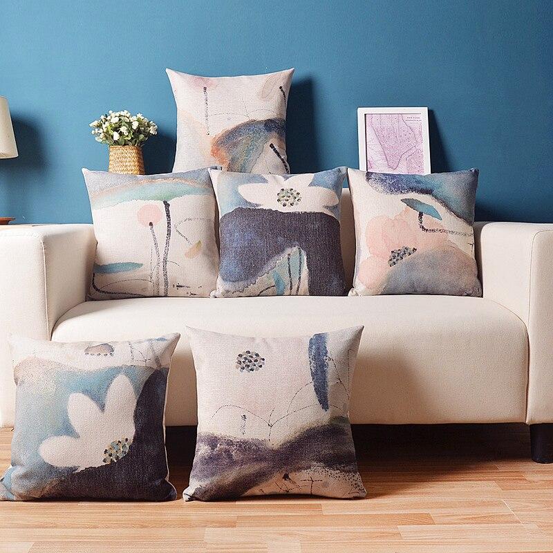 Funda de almohada elegante de estilo chino Lotus Zen con acuarela, funda de almohada decorativa para el hogar, funda de almohada de lino, funda de cojín de sofá para oficina