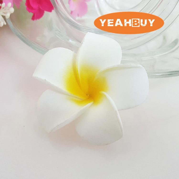 100 Uds 7cm hawaiana 5 colores toque real PE Artificial plumeria Flor de plumeria cabezas DIY boda fiesta headware Decoración