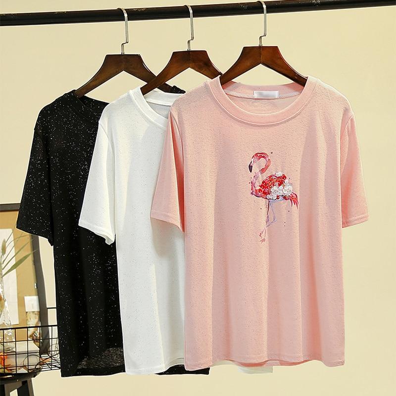 Harajuku camiseta feminina flamingo impressão de manga curta tshirt gelo seda lantejoulas preto t camisa feminina topos moda verão 2019 mais tamanho
