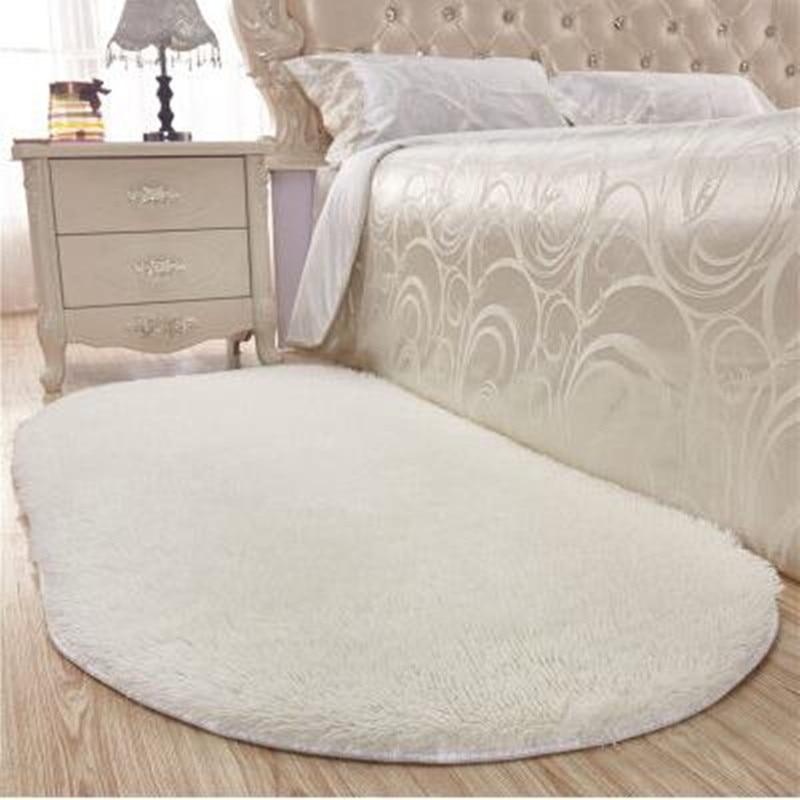 Alfombrilla sedosa ovalada gruesa, alfombra para dormitorio, alfombra para sala de estar, mesa de centro, suelo de pasillo, alfombrilla para puerta, mesita de noche, alfombrillas deslizantes para Baño