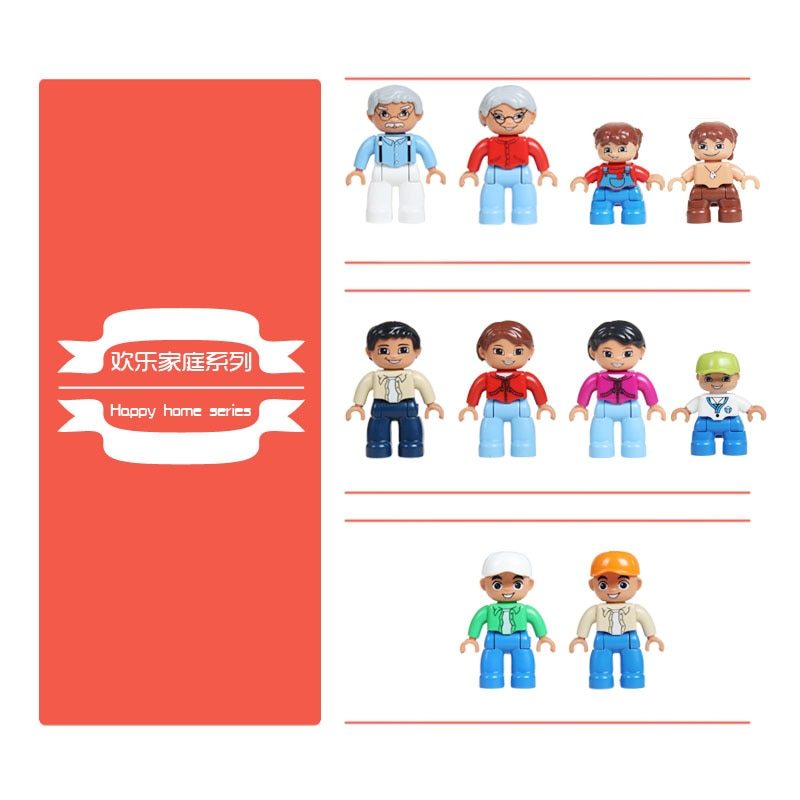 Family figuren Big Building Blocks home DIY Doll Original Accessory Compatible With Duplo Bricks City Figures Toys Children Gift