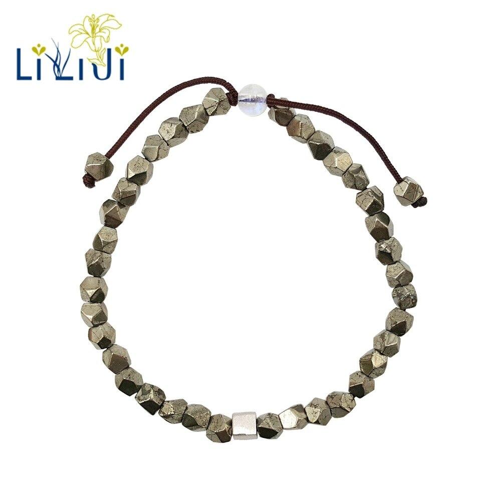 Pirita Natural Lii Ji, piedra lunar, Cubo de Plata de Ley 925, joyería de moda para mujeres o hombres