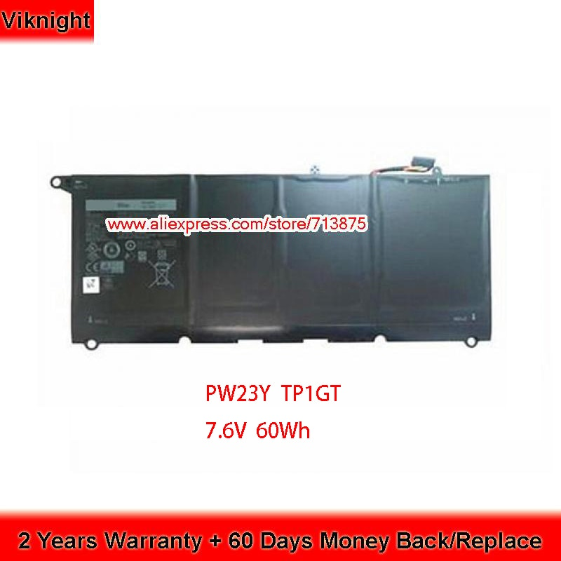 Auténtica batería de ordenador portátil 7,6 V 8085mAh 60Wh PW23Y TP1GT para Dell Xps 13 9360 RNP72