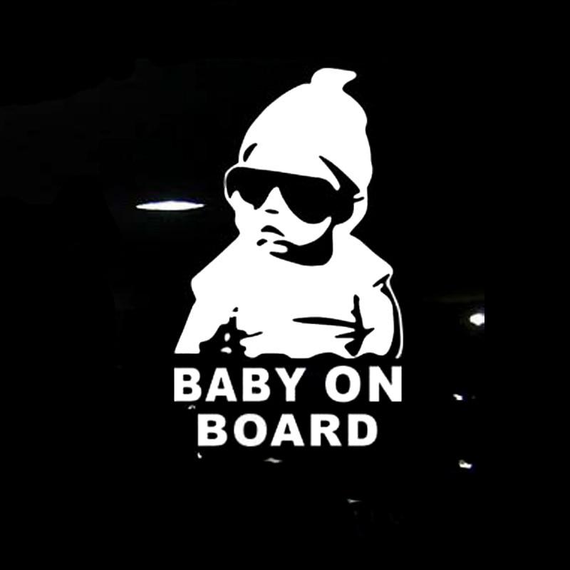 14*9CM bebé a bordo Cool trasero reflectante gafas de sol niño coche pegatinas calcomanías de advertencia negro/plata CT-465