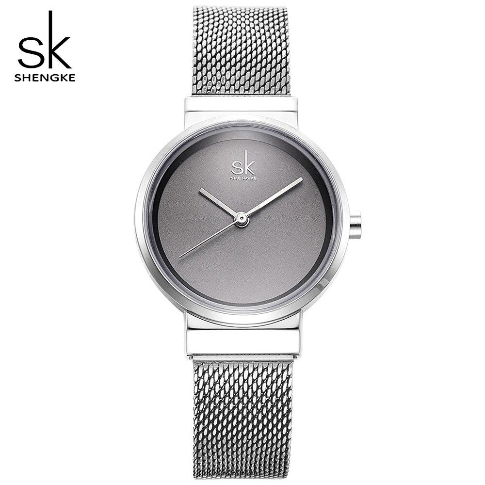SHENGKE, relojes simples grises, reloj de cuarzo a la moda para mujer, relojes de pulsera de marca lujosa para mujer, reloj de estilo nuevo 2020 para mujer