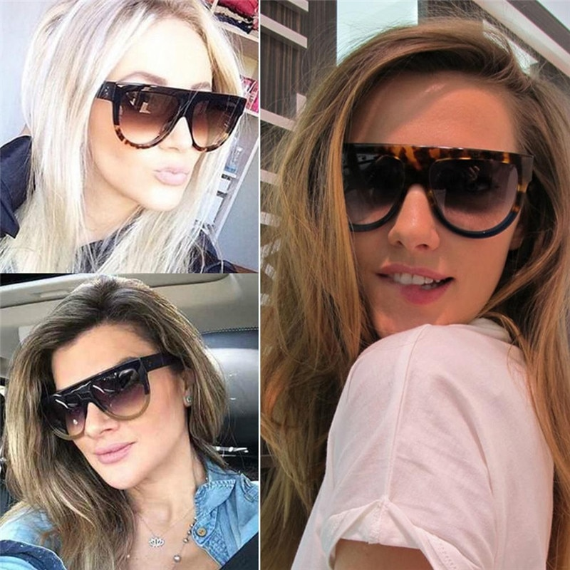 Woman oculos Flat Top Big Mirror Sun Glasses Eyewear gafas de sol Cat Eye Sunglasses Women Designer