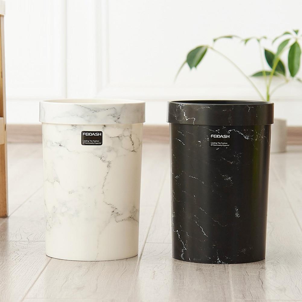 Cubo de basura para dormitorio, cubo de basura para sala de estar, cubo de basura con patrón de mármol, cubo de basura para oficina, sin tapa, cubo de basura de estilo europeo