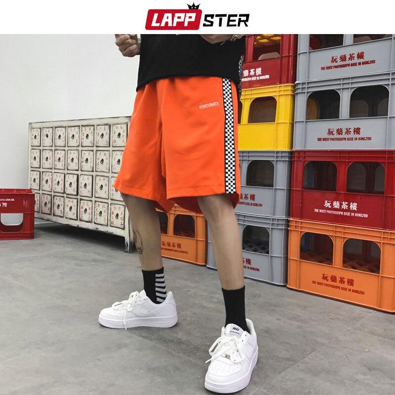 Pantalones cortos para hombre de LAPPSTER, pantalones cortos de algodón a rayas laterales para verano 2020, pantalones cortos de Hip Hop, pantalones cortos de moda, pantalones cortos negros