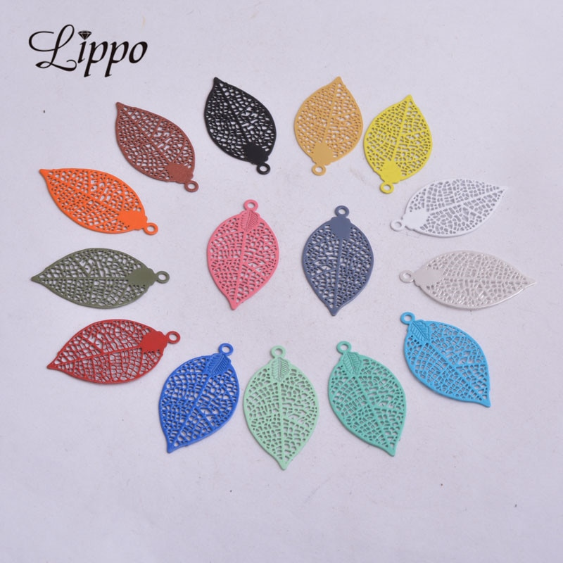 AliExpress - 50pcs AA2592 15*28mm Painted Brass Leaves Charms Filigree Leaf  Earrings Findings Pendants DIY Jewelry Materials