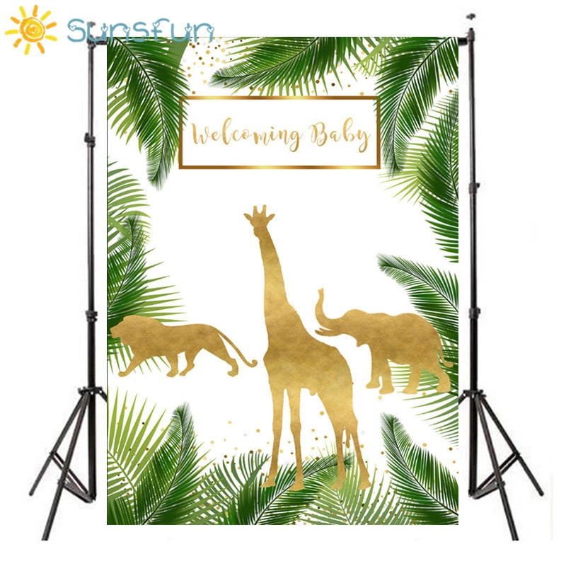 Sunsfun Green Baby Shower Jungle Safari Animal Giraffe Lion Elephant photo backdrop Computer print party background