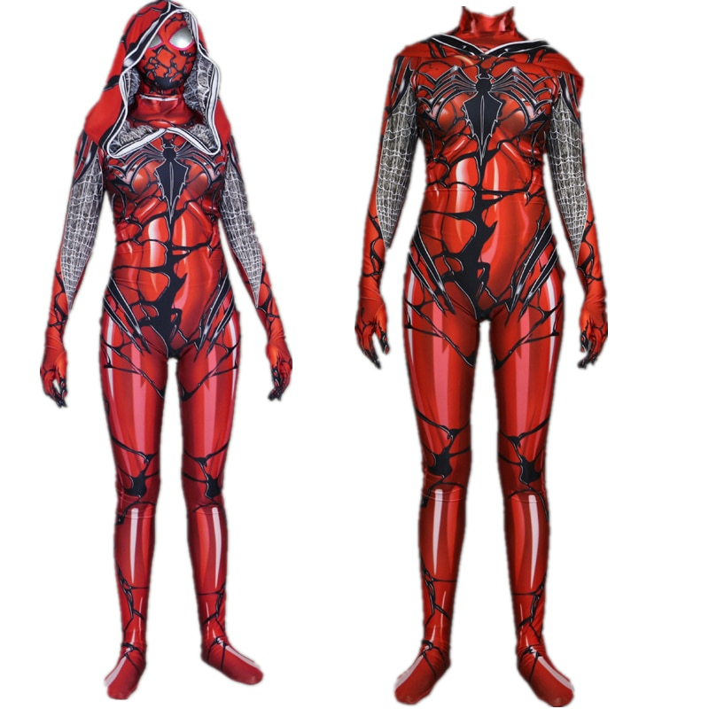 Super-herói spiderman vermelho carnificina veneno escarlate sangue jumsuit cosplay traje gwen stacy bodysuit terno macacões fro feminino