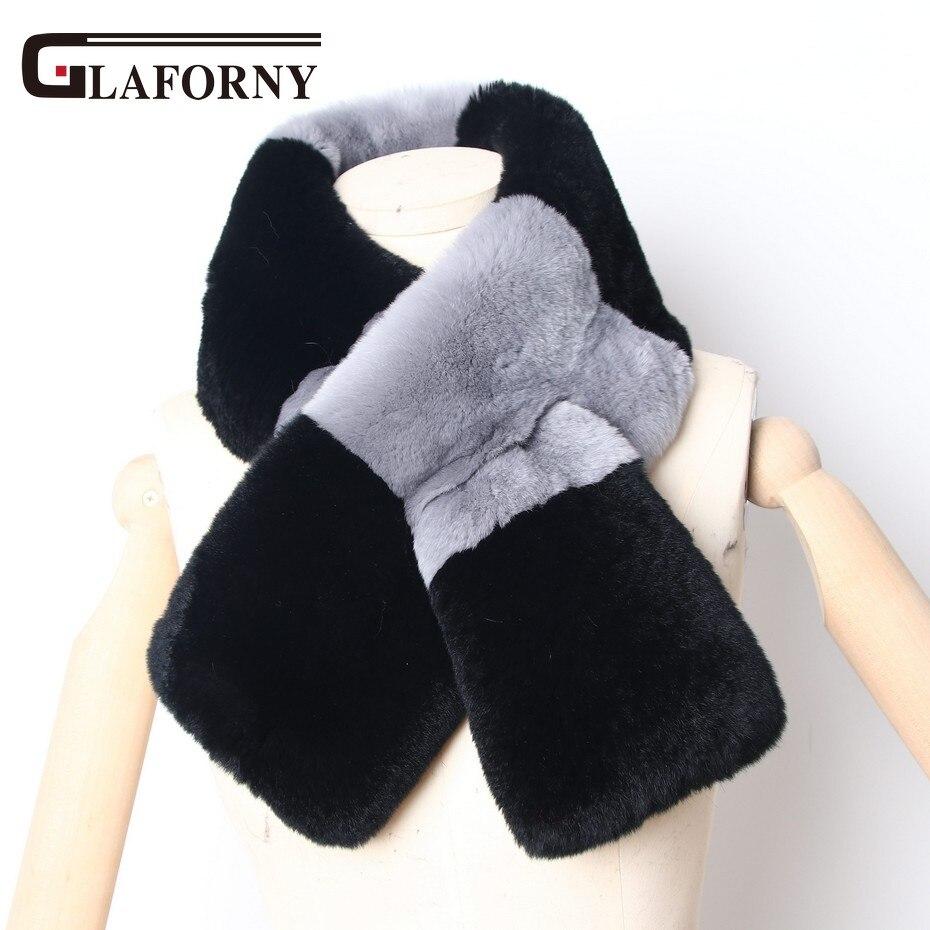 ¡Novedad! bufandas de piel de conejo Rex a la moda para mujer de Glaforny, bufanda de piel cálida para invierno para mujer, capucha negra, gris, piel auténtica súper rusa