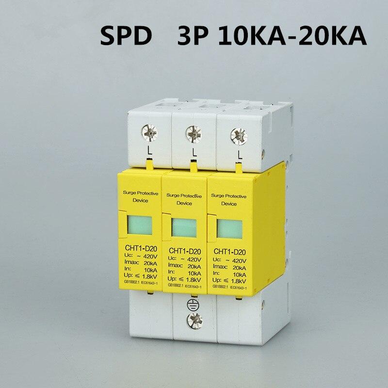 Disyuntor SPD 3P 10KA ~ 20KA D ~ 385VAC D20, protector contra sobretensiones doméstico, dispositivo protector de baja tensión