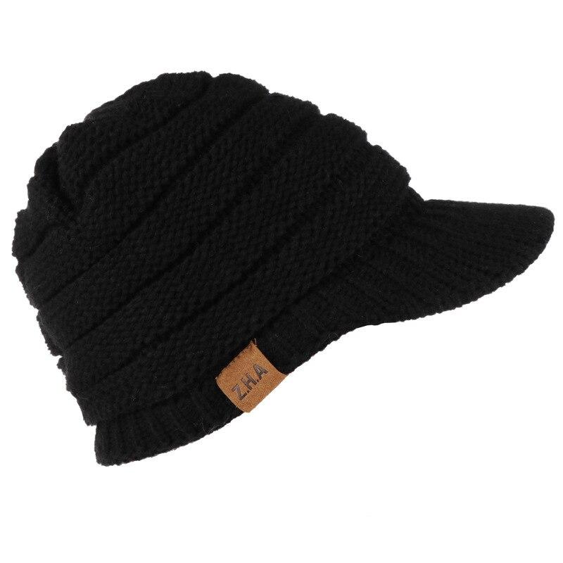 2019 Новая Стильная однотонная шапка для взрослых женщин и мужчин вязаная крючком зимняя шапка вязаная теплая бейсбольная Кепка Козырек Кепки высокого качества Z39