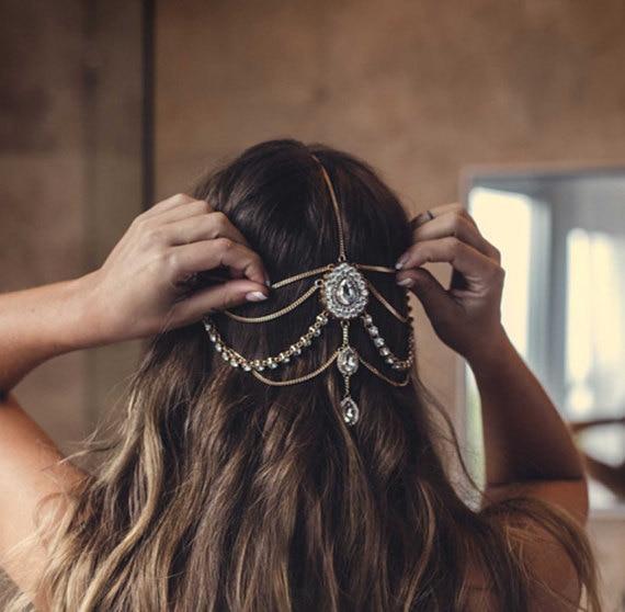 Turquia kundan pedra cabeça corrente coroa strass volta segurar headbands headpiece ouro índia nupcial casamento acessórios de cabelo jóias