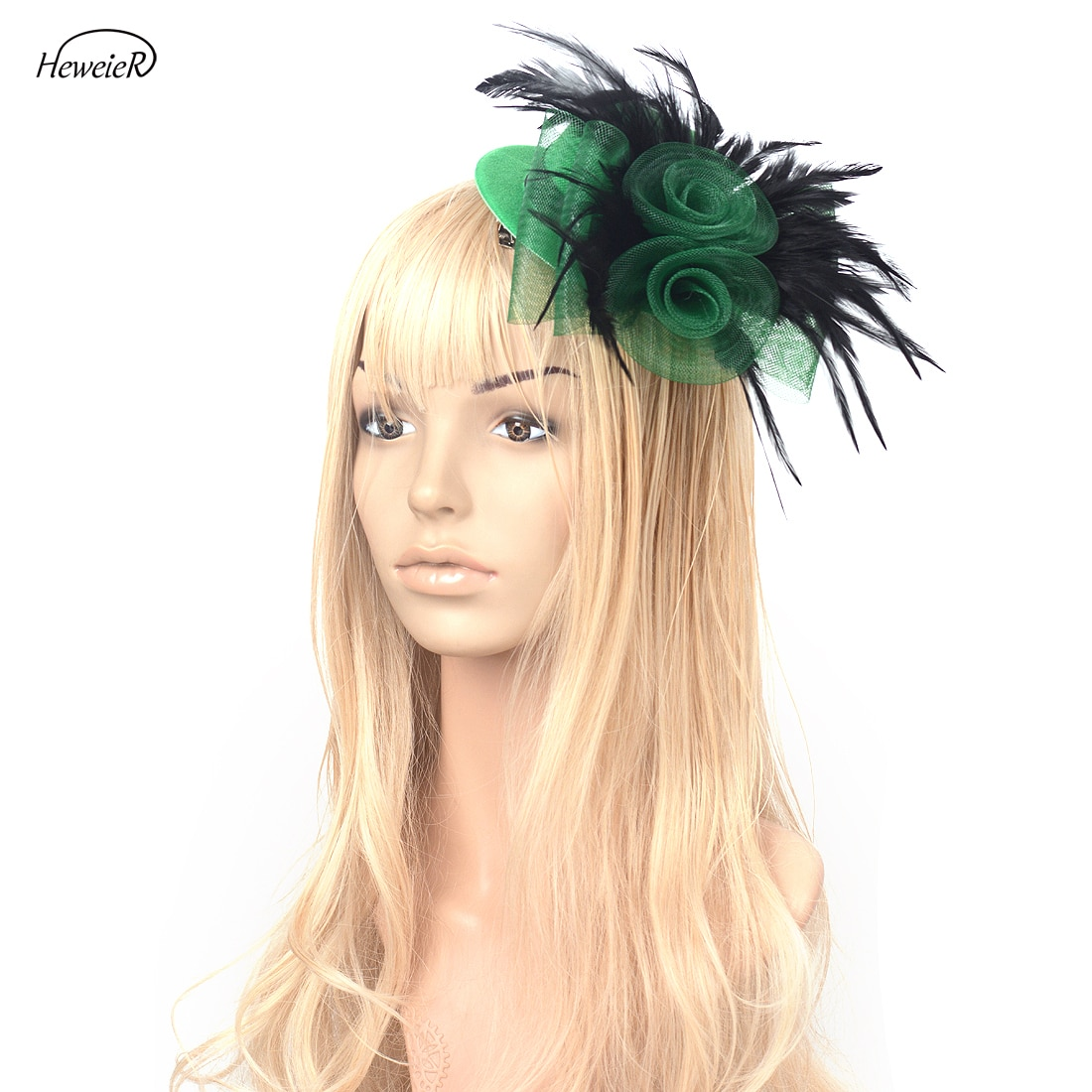 Verde/azul de moda de las mujeres Fascinator Top Hat Cap Net pluma Ascot Clip de cabello para fiesta sombrero para dama Accesorios para la cabeza Hairpiece