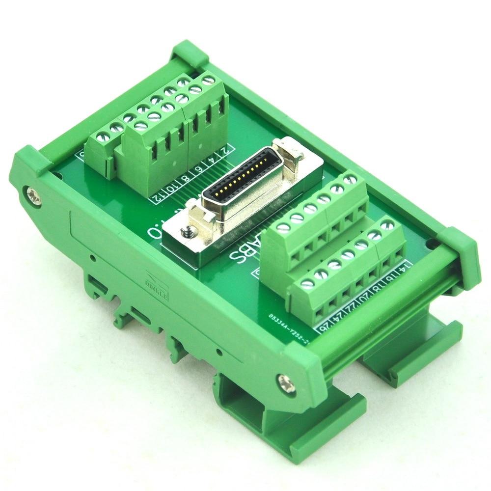 "Montaje en carril DIN 26-pin 0,05 ""Mini D Ribbon/MDR módulo de interfaz hembra, SCSI."