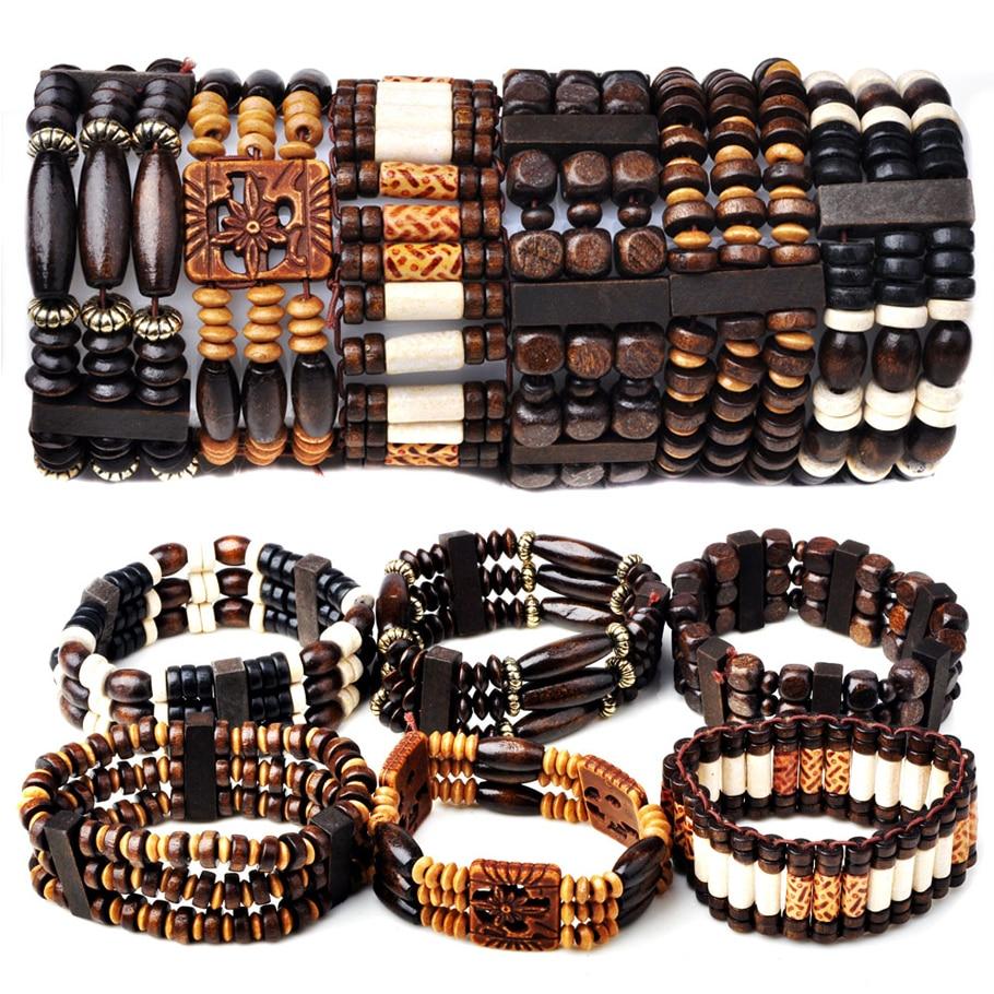 Mix Lot 5Pcs/lot Natural Wood Beads Charm Bracelets Fashion Jewelry Mix Style Wooden Adjustable Bracelet Cuff Bangle Wholesale