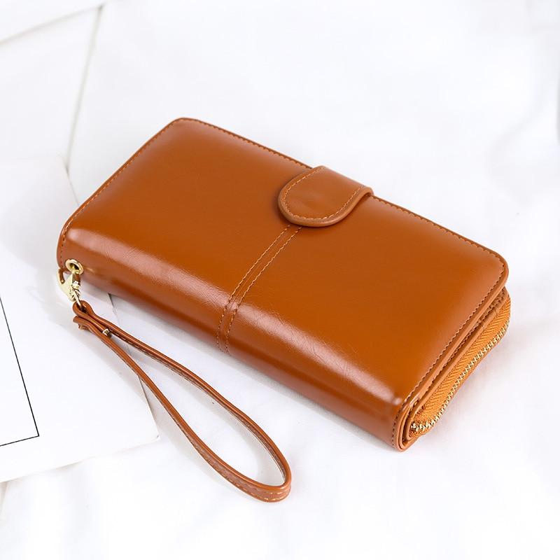 Купить с кэшбэком Oil Wax Women's Money Bag Hasp Money Clips Purse Wallets Clips Purses Zipper Clip Buckle Wallets Female