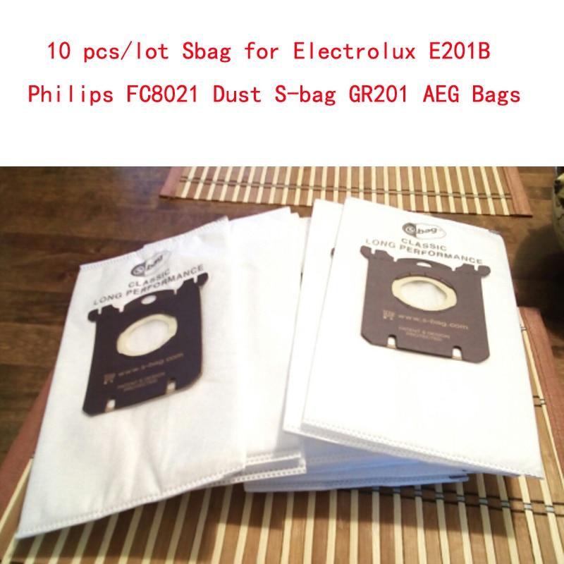 10 unids/lote Sbag para Electrolux E201B Philips FC8021 bolsa de polvo GR201 bolsas AEG