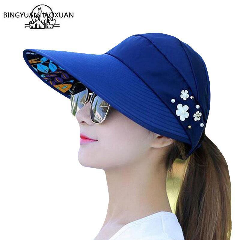 BINGYUANHAOXUAN 2018 קיץ מתקפל פרח קישוט מוצק צבע שמש הגנת UV כובע מזדמן נסיעות חוף שמש כובע לנשים
