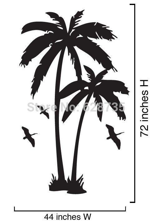 Наклейки на стену из кокосовой пальмы, виниловые наклейки на стену с изображением морских птиц для домашнего декора, бесплатная доставка