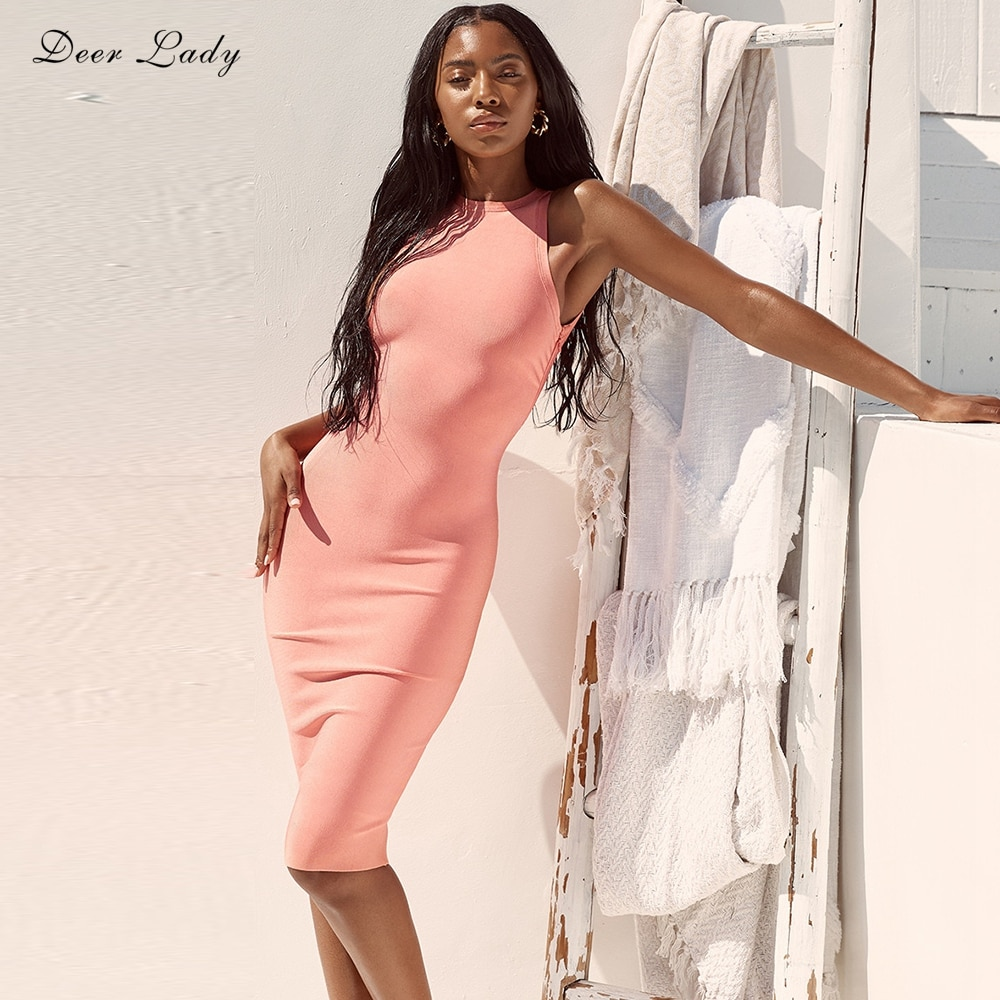 Deer Lady Vestidos Bandage 2019 Summer Cut Out Celebrity Bandage Dress Women Sexy Peach Bodycon Midi Dress Party Club