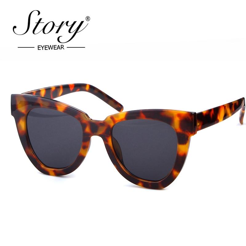STORY 2019 Vintage Retro Cat Eye Sunglasses Brand Designer Sexy Leopard Big Frame Oceans Sun Glasses Cateye Shades For Femal
