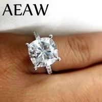 3 5 carat ct 9mm cushion cut engagementwedding moissanite diamond ring double halo ring genuine 14k 585 white gold