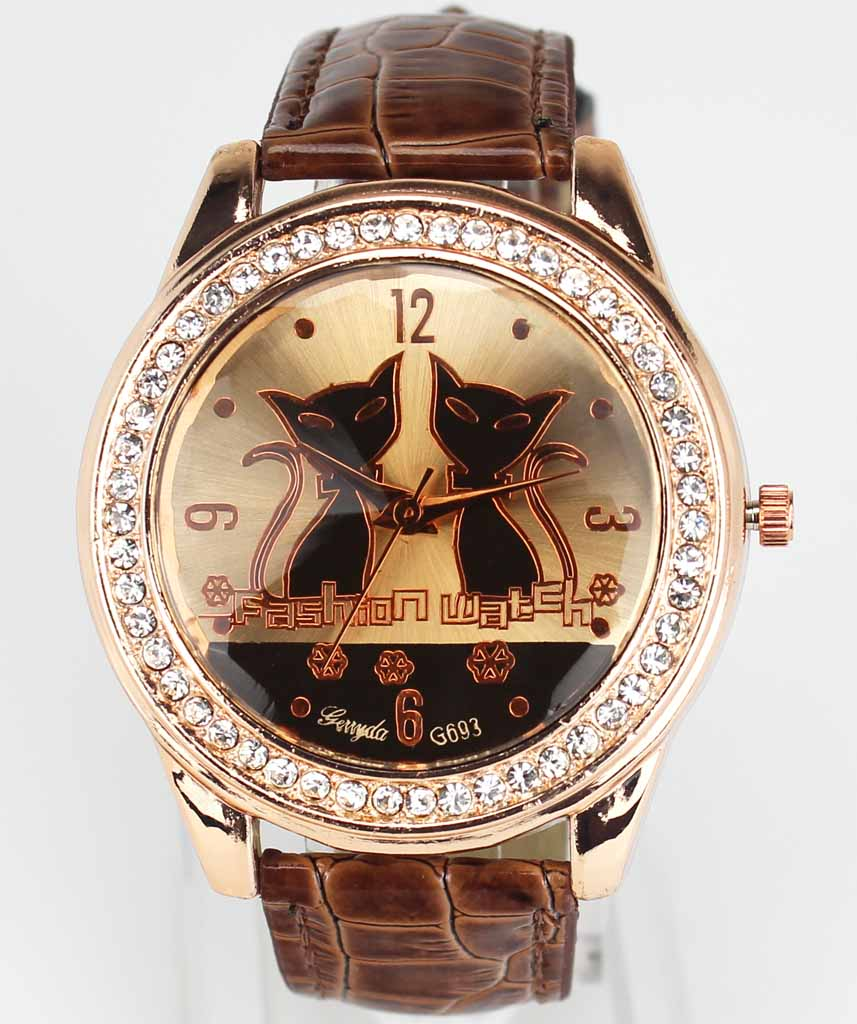 Women Fashion Two Cat Dial Gold Case Crystal PU Leather Band Analog Quartz Watch