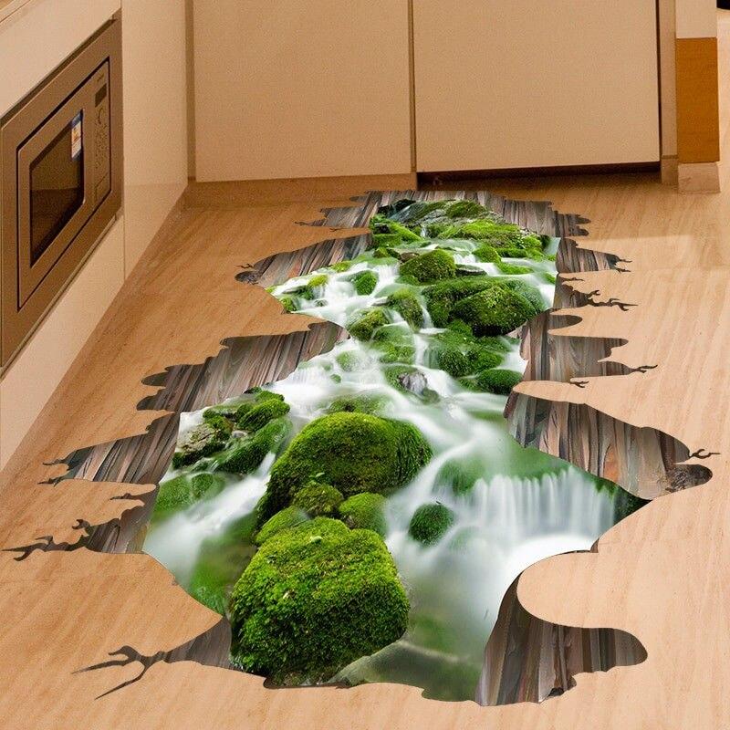 3D Creative זרם מדבקות סלון ספת רצפת ילדים חדר מטבח קישוט