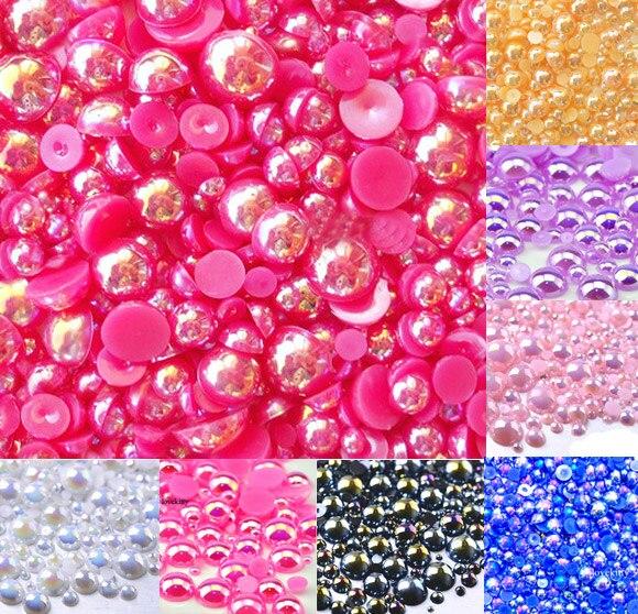 500Pcs Mixed 2-10mm Fuchsia AB Half Round Pearl Beads Craft Cabochon Scrapbook Decoration Flatback Nail Art Garment Beads DIY