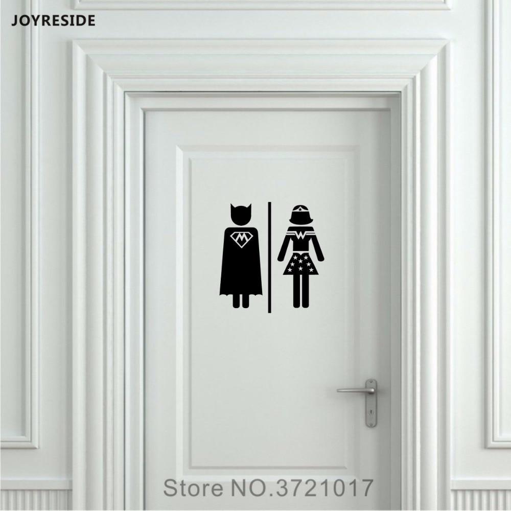 Joysebe W & M Мужская и женская унитаз для ванной комнаты унитаз знак наклейка на дверь, Виниловая наклейка на стену Декор для дома DIY Украшение XY091