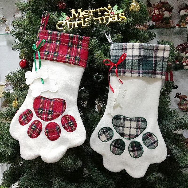 Pçs/lote 60 frete grátis Novo projeto do animal de Estimação da pata Do Cão da Manta meias de Natal X-meias de presente de natal das Crianças sacos do presente lin3971