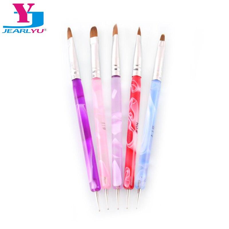 5 unidades/pacote Ferramentas Da Arte do Prego de Plástico Lidar Com Pintura Desenho Pen Escova 2 Way Nail Art Pontilhando Ferramentas Multifuncionais
