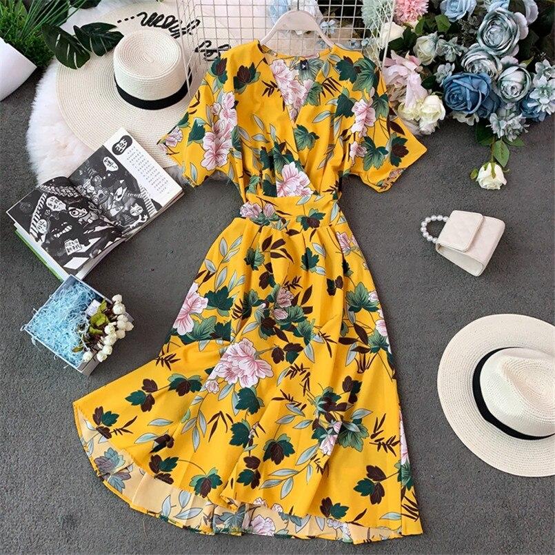 Vintage 2020 Boho V Neck Summer Floral Print Midi Long Dress Party Women Casual Retro Beach Holiday Bohemian A-Line Vestidos