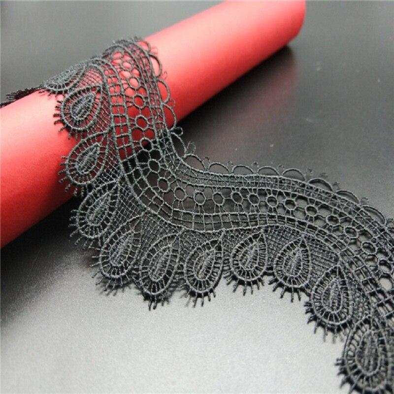 2 jardów/dużo haftowane czarne koronki wykończenia rozpuszczalne w wodzie kwiat gumowa koronka tkaniny aplikacje DIY szycia odzieży akcesoria