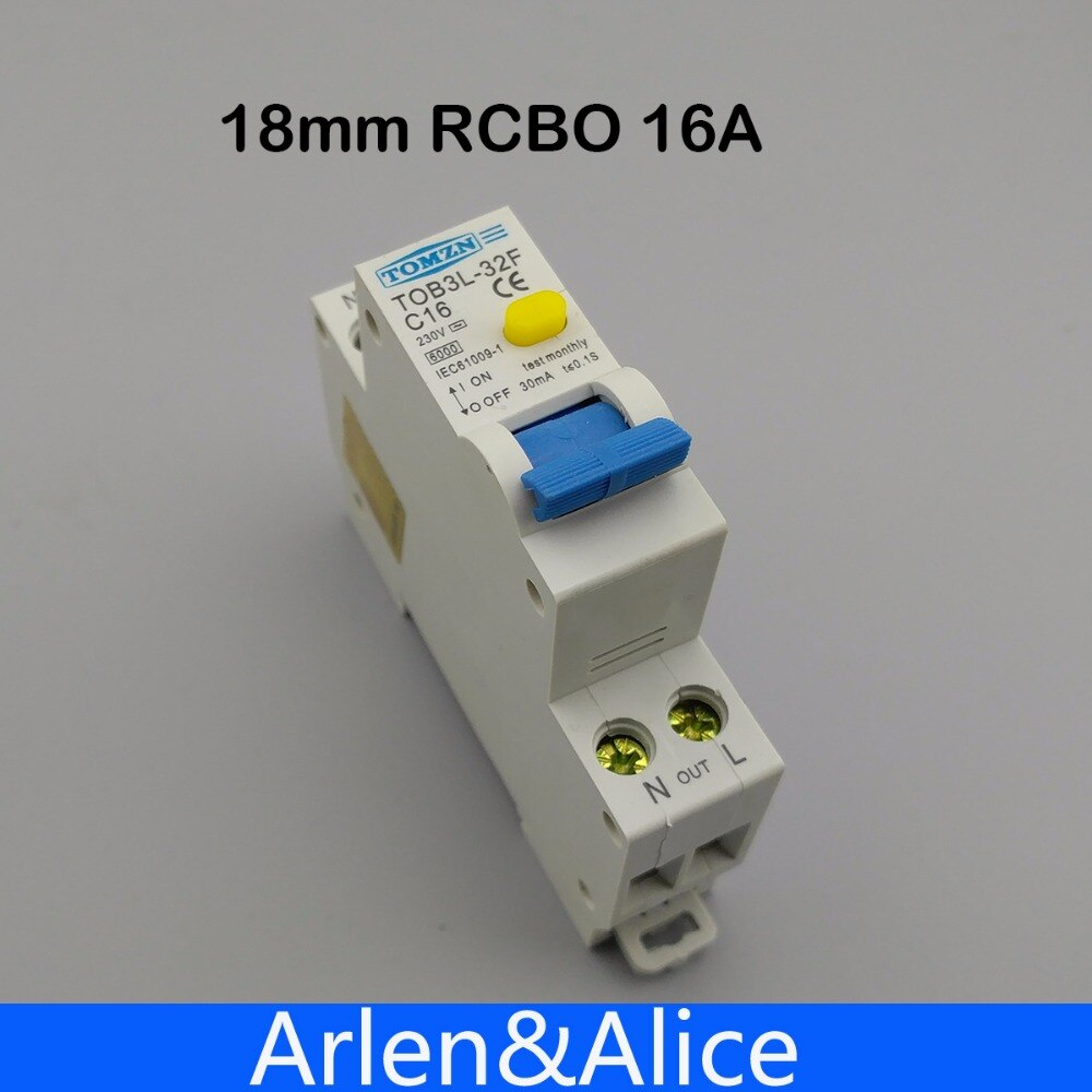 Disyuntor automático diferencial de corriente Residual 18MM RCBO 16A 1P + N 6KA con protección contra fugas de sobrecorriente