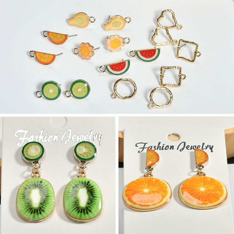 DIY Accesorios Materiales verano fresco niña corazón fruta serie Kiwi oreja uña orejera pendientes colgante oreja clip material