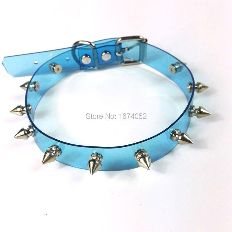 De las mujeres de la moda chica 100% hechos a mano de PVC claro gargantilla tachas de espinas Collar subió hebilla transparente Collar