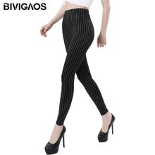 BIVIGAOS nouveau Vertical rayures Slim Skinny Stretch Leggings grande taille pas de Pilling jegging mince Legging pantalon femmes Sexy Leggings