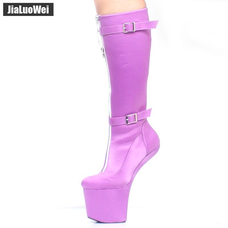 Jialuowei-حذاء بكعب عالٍ بطول الركبة 20 سنتيمتر ، جزمة بكعب عالٍ للغاية ، أسلوب غريب ، بدون غطاء ، منصة ، مثير ، صنم ، سحاب