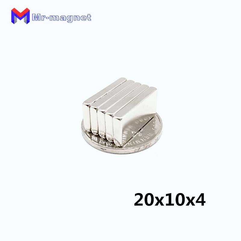 50 Uds. Imán de neodimio de tierras raras 20x10x4mm, 20x10x4mm, imán de neodimio de 20x10x4mm