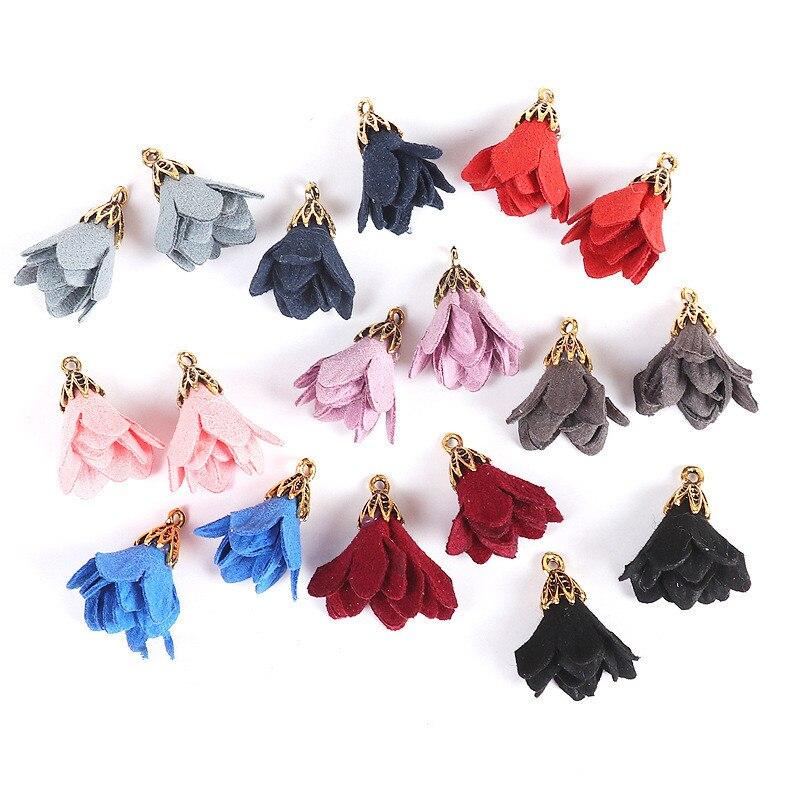 50pcs /lot 25mm Suede Tassel Flower Charm Pendants For Necklace Bracelet Making Earring Accessories Tassels For Jewelry Diy