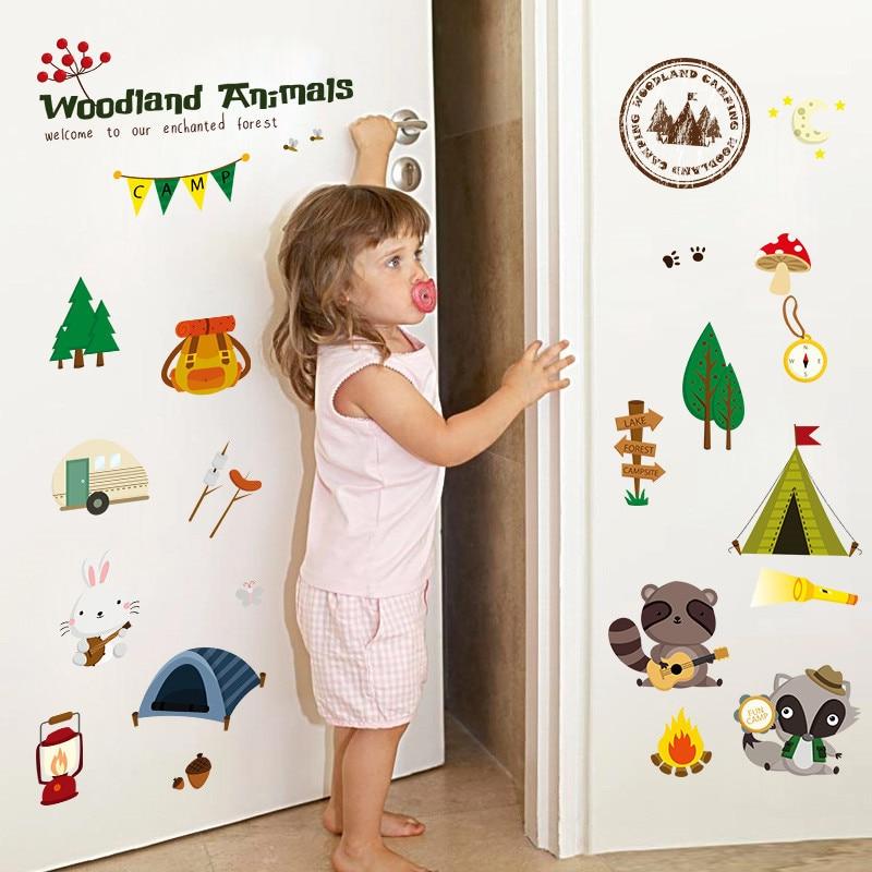 Bosque lago campo animales pegatinas de pared para niños habitaciones de guardería habitación decoración del hogar dibujos animados pegatinas de pared afiches de PVC arte mural DIY